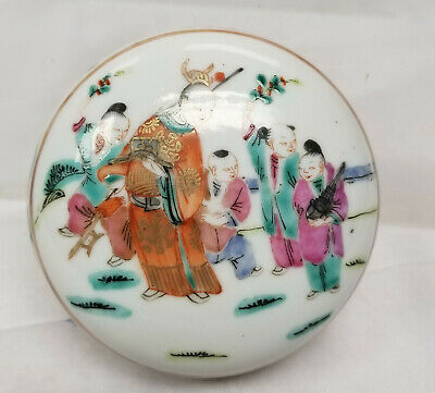 Antique Chinese Export Seal Paste Porcelain Box Famille Rose Enamel Painting