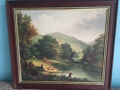 Antique Framed oil print On Board Signed Lovely Victorian Picture Of Boy Fishing