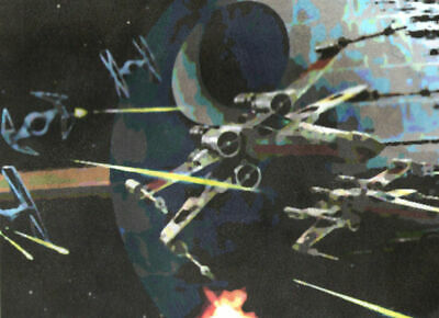 ACEO ATC Star Wars Space Battle Hand-Rendered Wet Watercolor