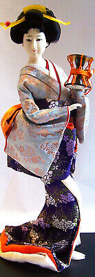 "Vintage JAPANESE GEISHA DOLL 18""w/Kimono, Wood Stand, Drum, Glass Eyes –1970's"