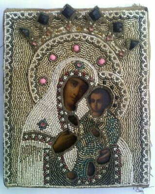 """Antique 19c Russian Orthx Hand Painted Wood Icon """"The Virgin of Tikhvin"""""""