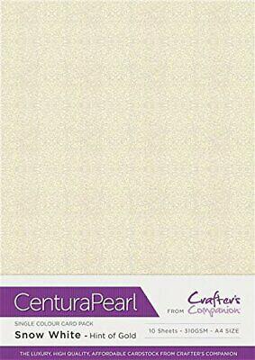 Crafters Companion Centura Pearl Single Colour 10 Sheet Pack-Snow White-Hint of
