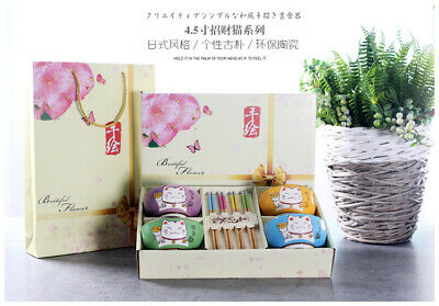 Fortune Cat Japanese Chinese Style Rice Bowl Gift Set - UK Seller, Fast Delivery