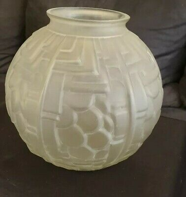 Vase boule art deco 1930 verre dépoli a l'acide diamètre 20 cm made in france