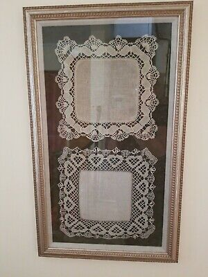 Vintage Framed Linen and Crocheted Doilies