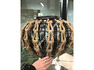 """Aren 20"""" Pot Bowl Centerpiece Art Oil Rubbed Iron Finish Western Rope Weave"""