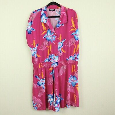 Vintage Plus Size Rayon Romper One Piece 1X 2X Pink Floral 80s Playsuit Hawaii