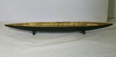 """32.5"""" Vintage  Solid Brass Footed Boat Bowl Tray - Centerpiece or Mantle"""