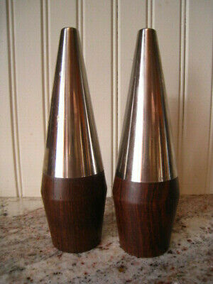 Mid Century Modern Teak Wood Salt + Pepper Shakers Scandinavian Danish Modern 7""