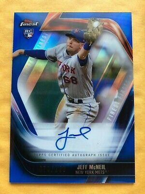 2019 Topps Finest JEFF MCNEIL RC Auto /150 Finest Firsts Blue Refractor METS
