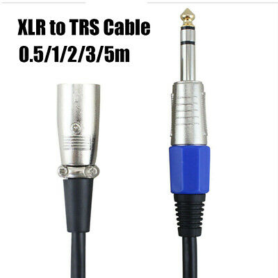 """Cord Male Active/Powered 1/4"""" 6.35mm XLR to TRS Stereo Jack Microphone Cable"""