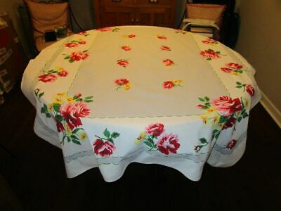 Vintage Printed Tablecloth Bright Pink/Yellow Roses 50x64