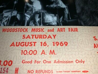 WOODSTOCK  AUTHENTIC 2 DAY 1969 TICKETS MUSIC Jimi Hendrix Grateful Dead CSNY aa