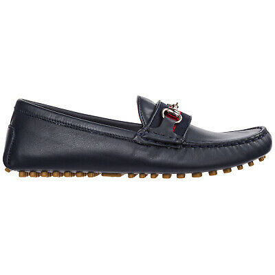 Gucci Boys Shoes Baby Child Loafers Moccassins Leather New Blue Fed