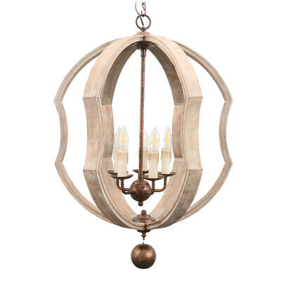 LED Wooden Antique Ceiling Lamp Chandelier Bedroom Pendant Lighting Retro Rustic