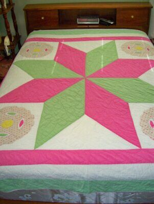 Vintage Original American Hand Stitched Quilt LONE STAR Very Nice!