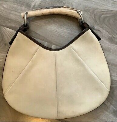 e2d9c0966a8 Authentic Yves Saint-Laurent Mombasa Creme Suede Horn Bag Purse Small Hobo