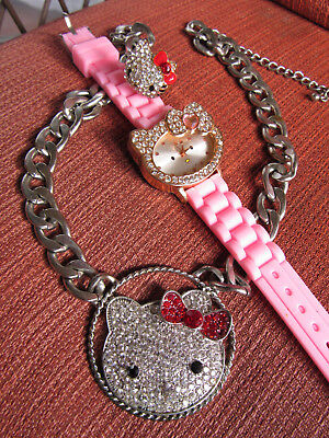 a0a2162d6 Thick chain necklace Sanrio Hello Kitty RARE Rhinestone Crystal BlinG LOT  WATCH