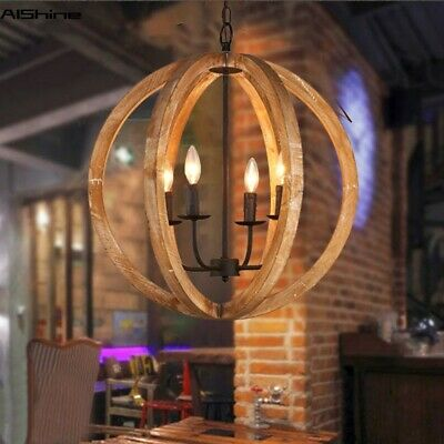 Wooden Globe Chandelier Antique Pendant Lighting Vintage Old Rustic Ceiling Lamp