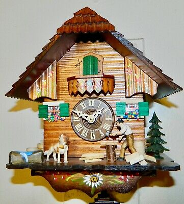 Original Hand Painted Black Forest (Swiss Chalet) Germany Cuckoo Clock