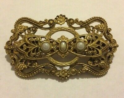 Vintage Art Deco Style Barrette clip hair accessories with faux pearls unbranded