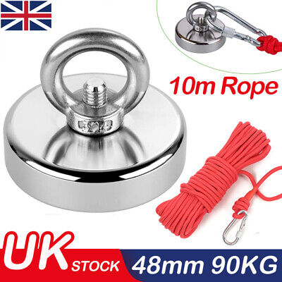 Recovery Fishing Magnet 90kg Pull Force Neodymium Strong Powerful 48mm Magnet