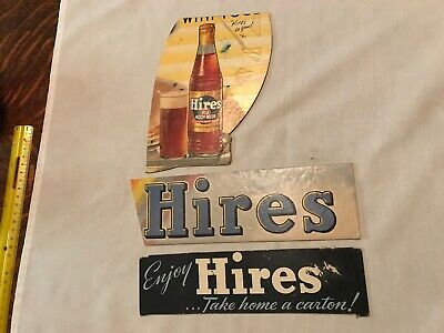 3 Hires Root Beer Vintage Cardboard Signs, Original sign Pieces