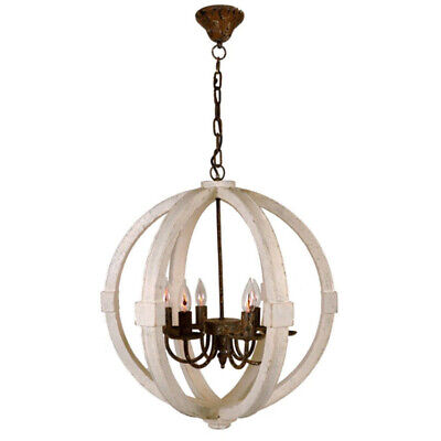 Wooden Globe Chandelier Metal Pendant Lighting Retro Rustic Antique Ceiling Lamp