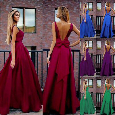 Women's Summer Solid Sexy Backless Elegant With Bow Long Dresses Club Maxi Dress