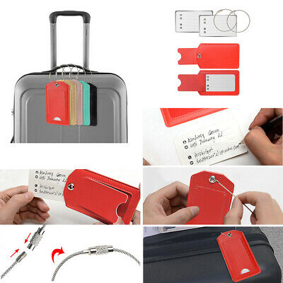Leather Travel Luggage Tags Suitcase Label Address ID Bag Baggage Tag
