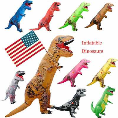 Adults Inflatable Dinosaur T-REX Costume Child Jurassic Halloween Blowup Outfit
