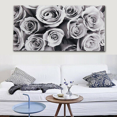 Black & White Rose Large Canvas Painting Prints Wall Home Art Decor Unframed !