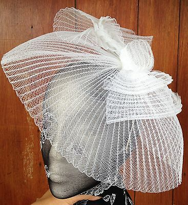 White fascinator millinery burlesque wedding hat hair piece ascot race bridal x