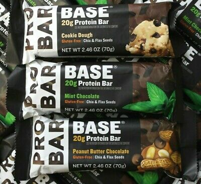 50 ProBar Base Protein Bars 20g Peanut Butter Chocolate Mint Cookie Dough