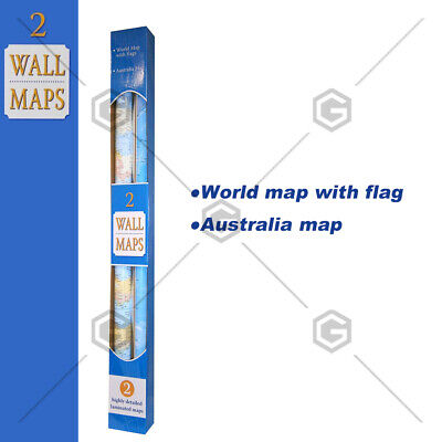 highly detailed laminated wall maps OF 2 SET world and Australia map 126x90CM