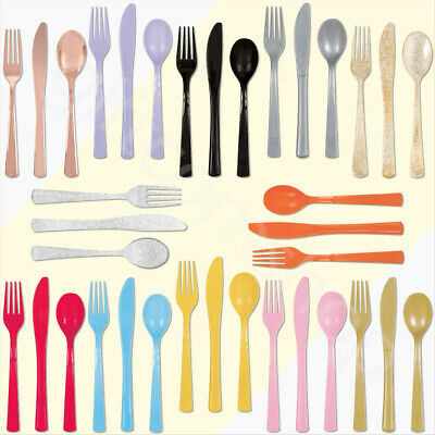 18pc Plastic Reusable Cutlery Set Spoons Knives Forks Party Tableware Catering