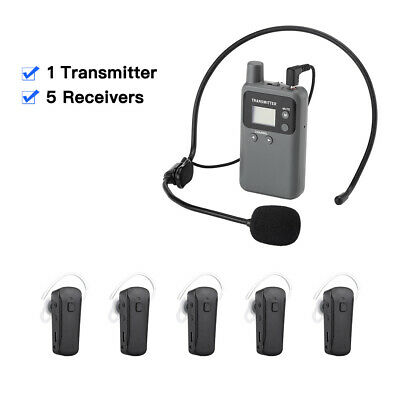 Wireless Tour Guide System 48CH Transmitter+5* Receiver Meeting For Conferences