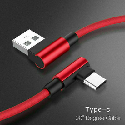 Lot 90 Degree Angle Fast Charge Type C Cable Rapid Power Cord L Charger USB-C