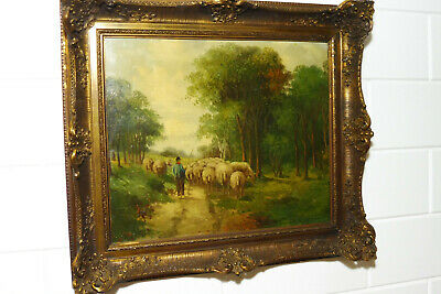 Antique Dutch Oil Painting Landscape Sheep 19thC Old Painting