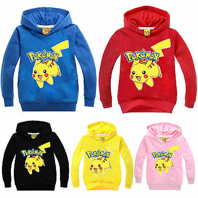 Kids Boys Girls Pokemon Go Pikachu Hooded Hoodies Sweatshirt Jumper Casual Tops