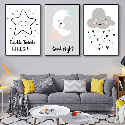 Cartoon Moon Star Cloud Poster Wall Art Picture Canvas Painting Kids Room Decors