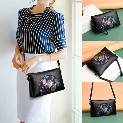 KF_ Women's Retro Flower Faux Leather Envelope Tote Pouch Small Crossbody Bag