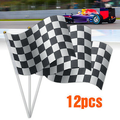 12pcs Black & White Chequered  Hand Waving Flag F1 Formula One Racing Banners ~