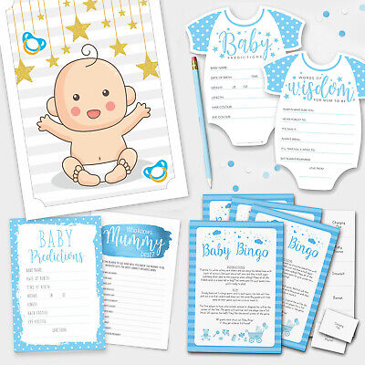 BLUE BABY SHOWER GAMES - Boy Baby Bingo - Baby Prediction Cards - Pin the Dummy