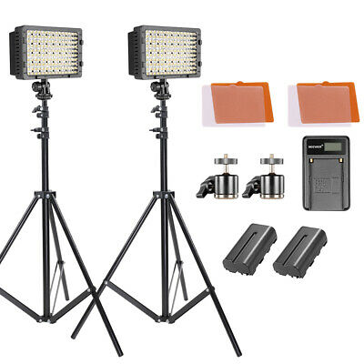 Neewer 2-pack Dimmable 160 LED Video Light Kit with Light Stand for DSLR Camera