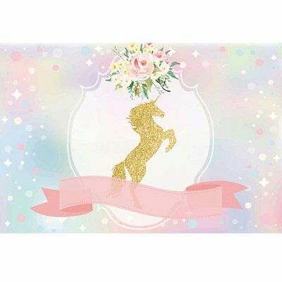 3x5ft Unicorn Ribbon Flowers Baby Vinyl Photography Photo Background