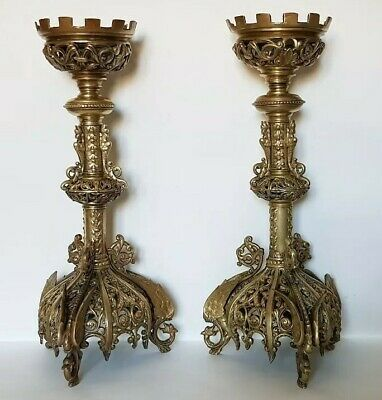 A Large Pair Of Antique Brass Gothic Revival Church Candlesticks With Griffin Fe