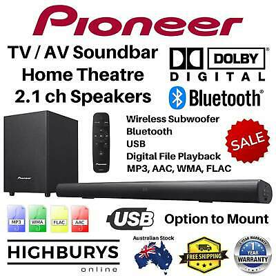 Pioneer TV Sound Bar Home Theatre Speakers Wireless Subwoofer Dolby BT USB 2.1ch