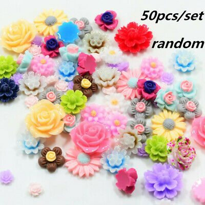 50pcs Mixed Resin Beads Rose Flower Flat Back Embellishment Cabochons Craft DIY