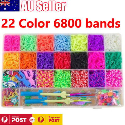6800 Rainbow Loom Band Bracelet Storage Kit Bands Board Loom Hooks Clips Charms